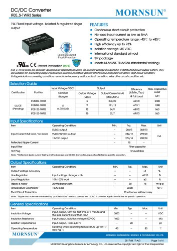 IF05_S-1WR3 Series--1W, Fixed input voltage, isolated & regulated single output