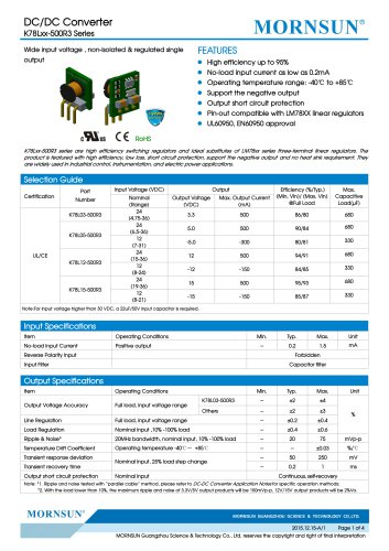 K78Lxx-500R3 / DC-DC converter / 500mA current output / non-isolated / open-frame