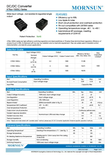 K78xx-1500(L) / DC-DC converter / 1500mA current output / non-isolated