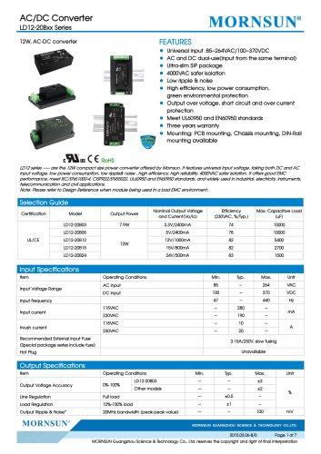 LD12 / 12watt AC/DC power supply / Medical