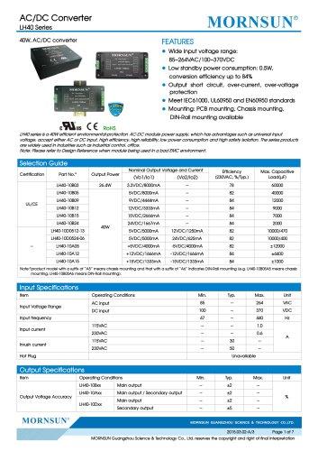 LH40 / 40watt AC/DC power supply / converter / Industrial control