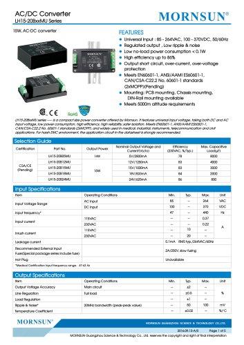 Low Consumption Medical AC/DC Converter LH15/LH25-20BxxMUseries
