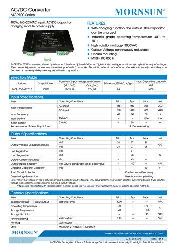 MCP100 / 100Watt / AC DC power supply / converter / capacitor charging