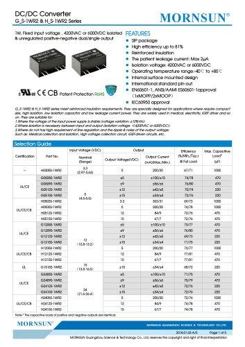 Medical Fixed Input DCDC Converter G_S-1WR2