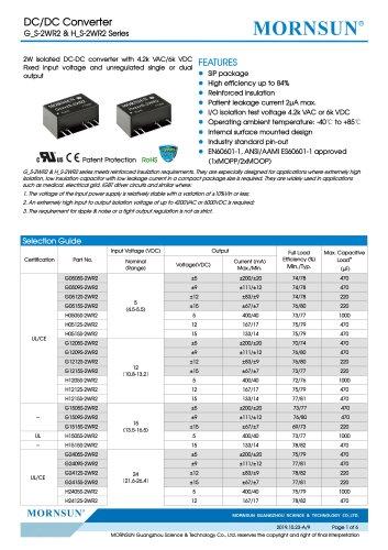 Medical Fixed Input DCDC Converter G_S-2WR2