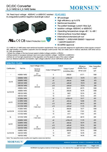 Medical Fixed Input DCDC Converter H_S-1WR2