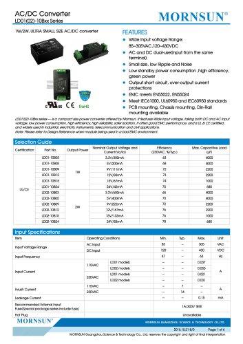 MORNSUN 1-2W compact 85-305VAC wide input AC/DC converter LD01/02-10Bxx