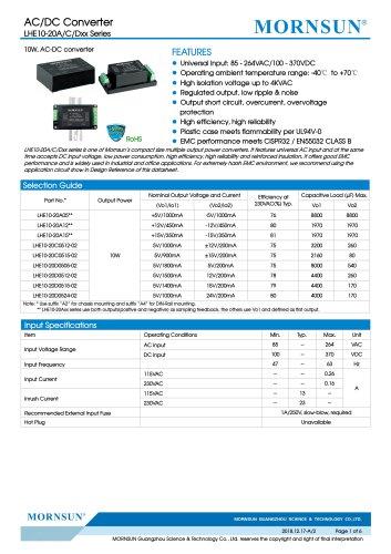 MORNSUN 10W 85-264VAC input triple outputs AC/DC Converter LHE10-20Cxxxx
