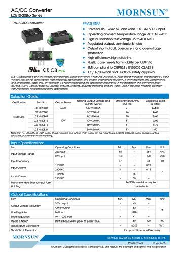 MORNSUN 10W Ultra small size AC/DC converter LDE10-20Bxx