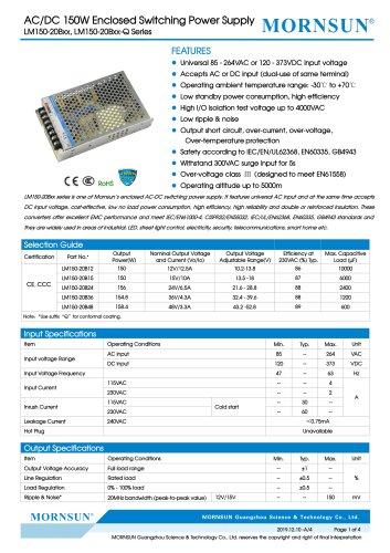 MORNSUN 150W AC/DC Enclosed Switching Power Supply LM150-20Bxx