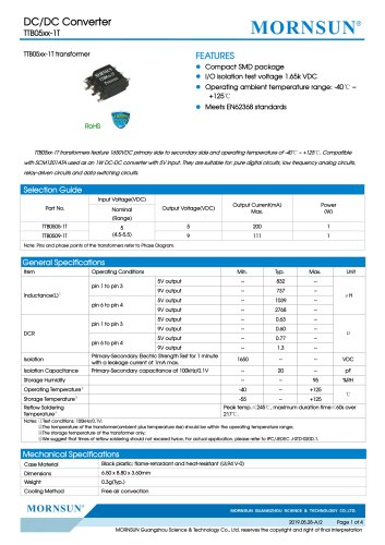 MORNSUN 1W DC-DC Isolated SMD Converter Transformer TTB05xx-1T
