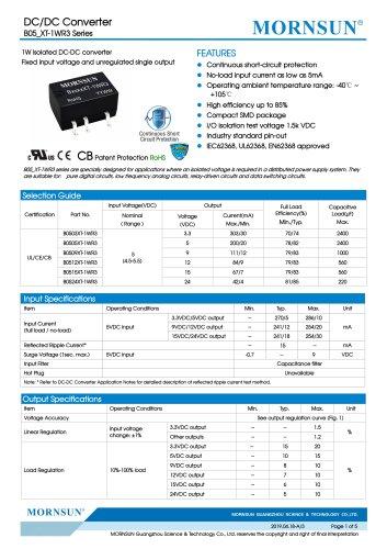 MORNSUN 1W isolated DC-DC converter  B_XT-1WR3/Fixed input voltage/single output