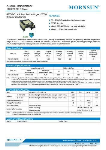 MORNSUN 20W AC-DC Automotive Isolated Transformer TTLHE20-20B-D