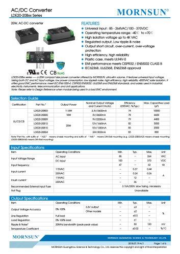 MORNSUN 20W Ultra small size AC/DC converter LDE20-20Bxx