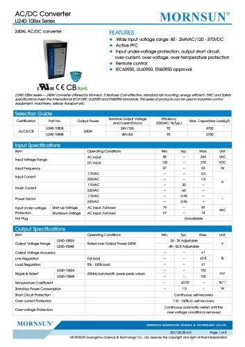 MORNSUN 240watt AC DC power supply / converter / PFC / DIN35 / LI240-10Bxx