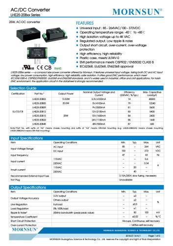 MORNSUN 25W 85-264VAC input AC/DC Converter LHE25-20Bxx