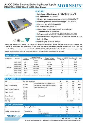 MORNSUN 350W AC/DC Enclosed Switching Power Supply LM350-10Bxx