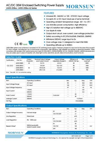 MORNSUN 35W AC/DC Enclosed Switching Power Supply LM35-20Bxx
