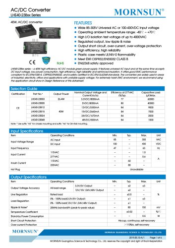 MORNSUN 40W 85-305VAC wide input AC/DC converter LHE40-23Bxx