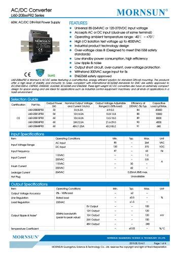 MORNSUN 60watt 85-264VAC input AC DC power supply / converter / DIN-Rail / LI60-20BxxPR2