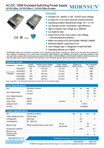 Mornsun Enclosed power supply LM150-22Bxx