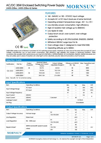 Mornsun Enclosed power supply LM35-22Bxx