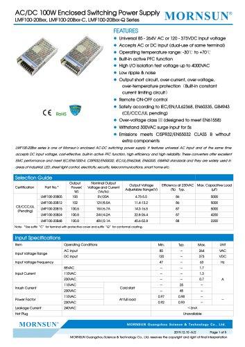Mornsun Enclosed power supply LMF100-20Bxx