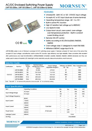 Mornsun Enclosed power supply LMF150-20Bxx