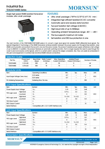 MORNSUN ultra compact RS485 isolated transceiver TD_M485