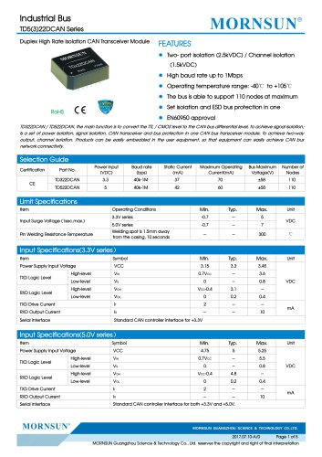 Open Frame CAN Transceivers TDx22DCAN Series