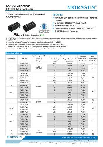 E_S-1WR2 / 1watt DC-DC converter / 3000vdc isolation