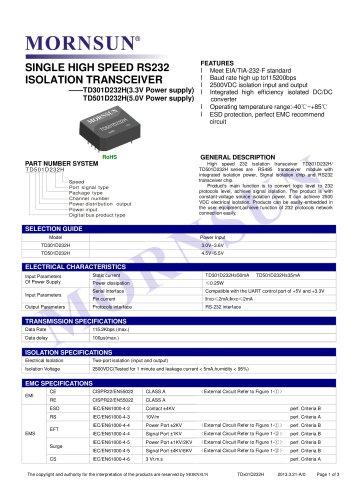TDx01D232H / SINGLE HIGH SPEED / ISOLATION TRANSCEIVER / Integrated / 0~115.2Kbps