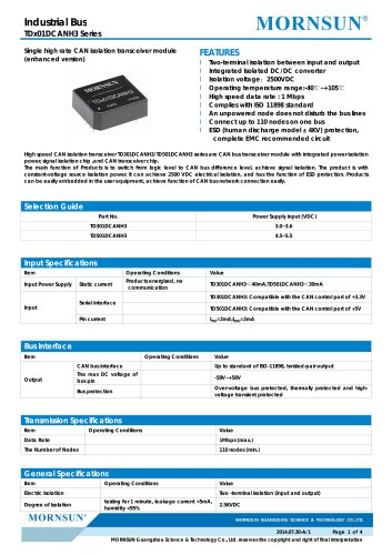 TDx01DCANH3 / CANbus / Integrated Isolated DC/DC converter / 1 Mbps