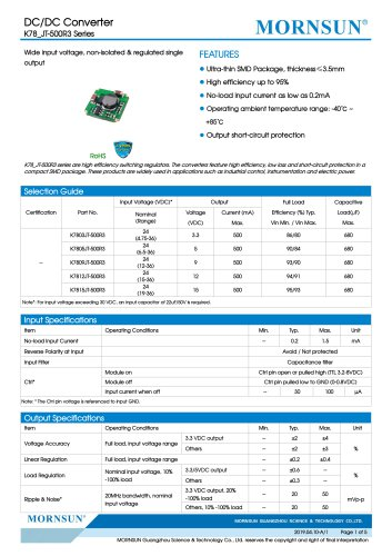 Ultra-thin Open Frame Switching Regulator K78-JT-500R3