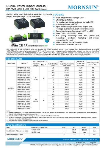 "URA_YMD-6WR3 / 4:1 / 1""*1"" /6 watt / dc dc converter"
