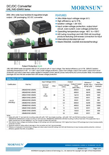 URB_YMD-20WR3 series are isolated 20W DC-DC products with 4:1 input voltage.