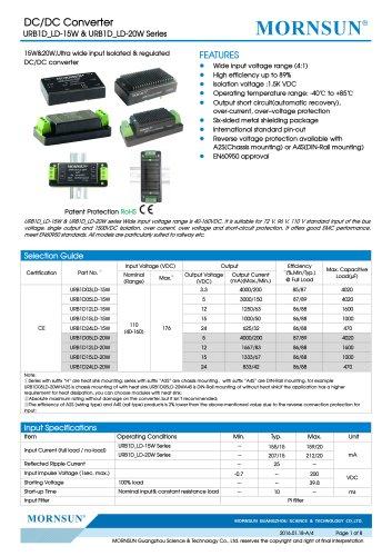 URB1D_LD-15W / 15watt / (4:1) 40~160vdc input / railway application