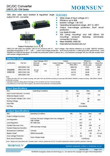 URB1D_XD-10W / 10watt / (4:1) 40~160vdc input / 1500vdc isolation / railway application / single output / DIP / DIN-Rail / chassis
