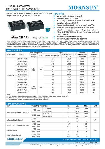 URF_P-6WR3 / 4:1 / 6 watt / dc dc converter