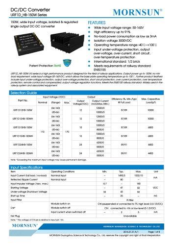 URF1D_HB / 150watt DC-DC converter / 4:1 / Railway application / 66-160vdc input