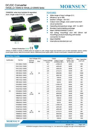 VRB_LD-15WR2 / 2:1 / 15 watt / Regulated