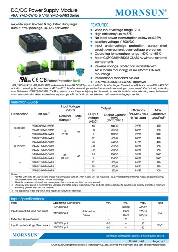 """VRB_YMD-6WR3 / 2:1 / 1""""*1"""" /6 watt / wide input voltage / dc dc converter / 1500Vdc isolation / ultra low power consumption / industrial / Regulated / single output / DIP"""