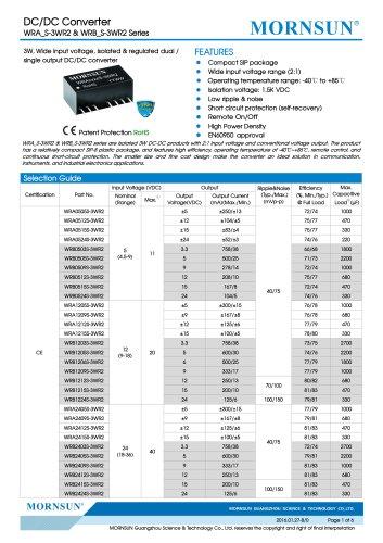 WRB_S-1WR2 / 2:1 / 1watt DC-DC converter / Single output