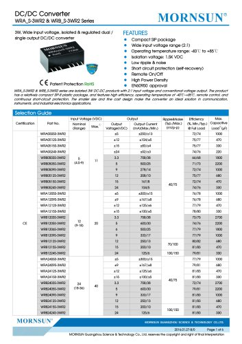 WRB_S-3WR2 / 2:1 / 3watt DC-DC converter / Single output