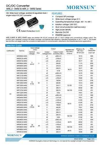 WRF_S-3WR2 / 2:1 / 3watt DC-DC converter / Single output