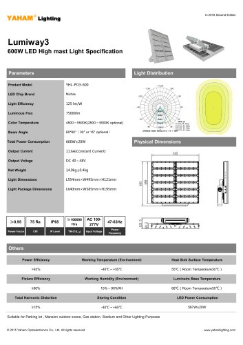 LED HIGH MAST LIGHT |600W Lumiway3 High mast light Specification