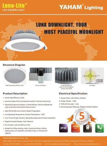 Yaham Luna-Lite LED Down Light, Suitable for Office building , Hotel , Family and Home , Gallery , Clothing store ,Art exhibition and Other Indoor or Commercial Lighting