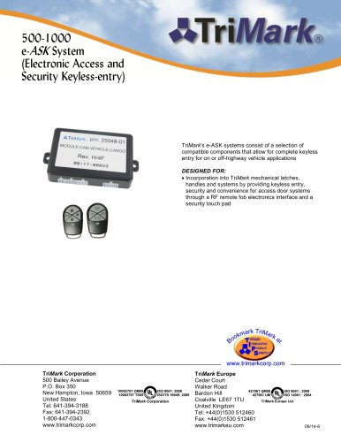 500-1000 e-ASK System (Electronic Access and Security Keyless-entry)