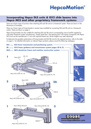 Incorporating Hepco DLS units & GV3 slide beams into Hepco MCS and other proprietary framework systems
