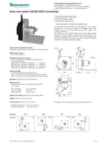 Assembly instructions draw-wire system SZG93 with incremental encoder WDG 40Z